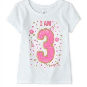 💕NEW💕 Birthday Glitter I Am 3 Graphic Tee